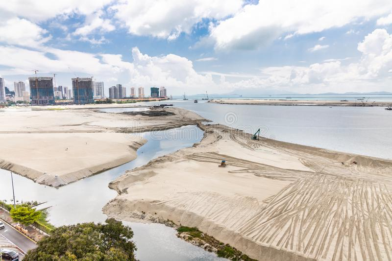 Elevated view of Penang`s Gurney Drive sea reclamation. Project royalty free stock photos