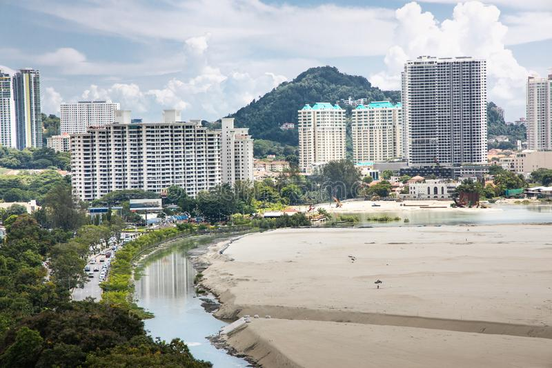 Elevated view of Penang`s Gurney Drive sea reclamation. Project stock photos