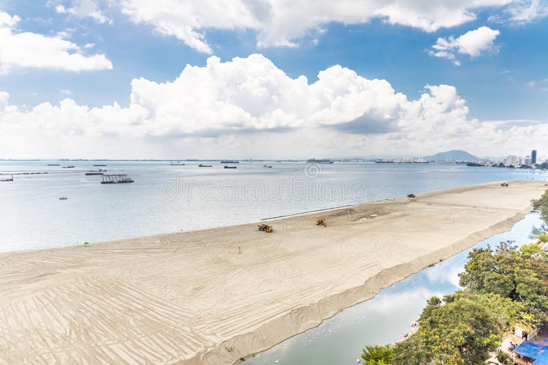Elevated view of Penang`s Gurney Drive sea reclamation. Project stock images