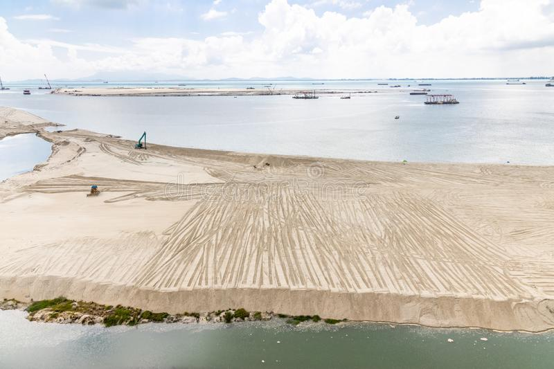 Elevated view of Penang`s Gurney Drive sea reclamation. Project royalty free stock image
