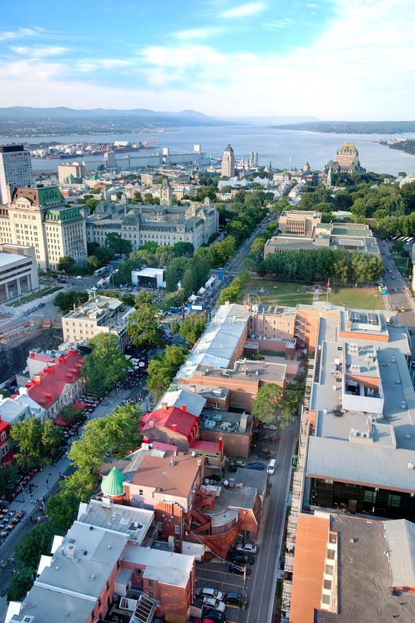 Elevated View of Quebec City, Canada. This is an elevated view of Quebec City, Province of Quebec, Canada. The most predominant street, Grande Allee street, is royalty free stock images
