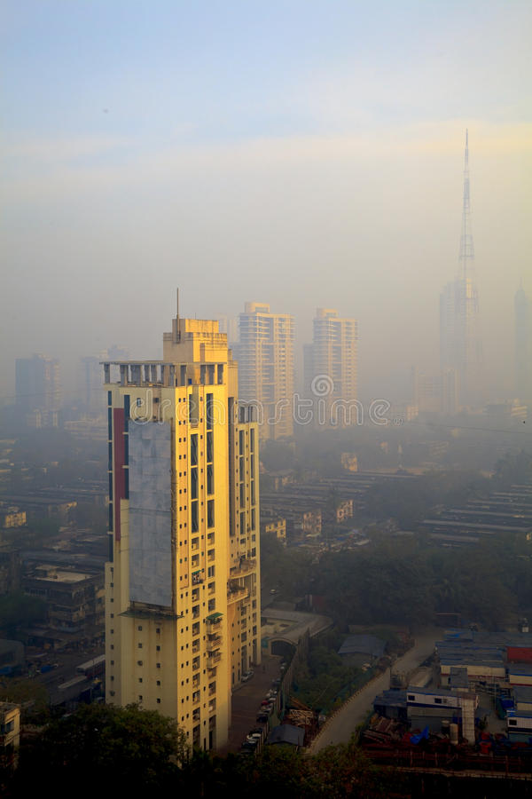 Elevated view smog filled Bombay Skyline stock photo