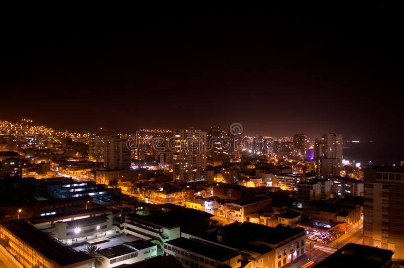 Elevated view of the city of Antofagasta, Chile, at night. Elevated view of the streets of Antofagasta, Chile, at night stock photography