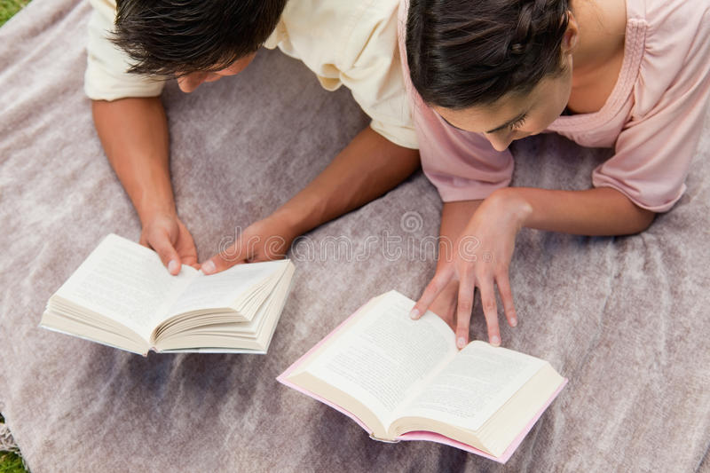 Download Elevated View Of Two Friends Reading While On A Blanket Stock Image - Image: 25332599
