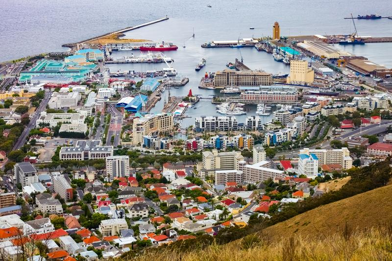 Elevated view of the V&A Waterfront in Cape Town harbor royalty free stock photos