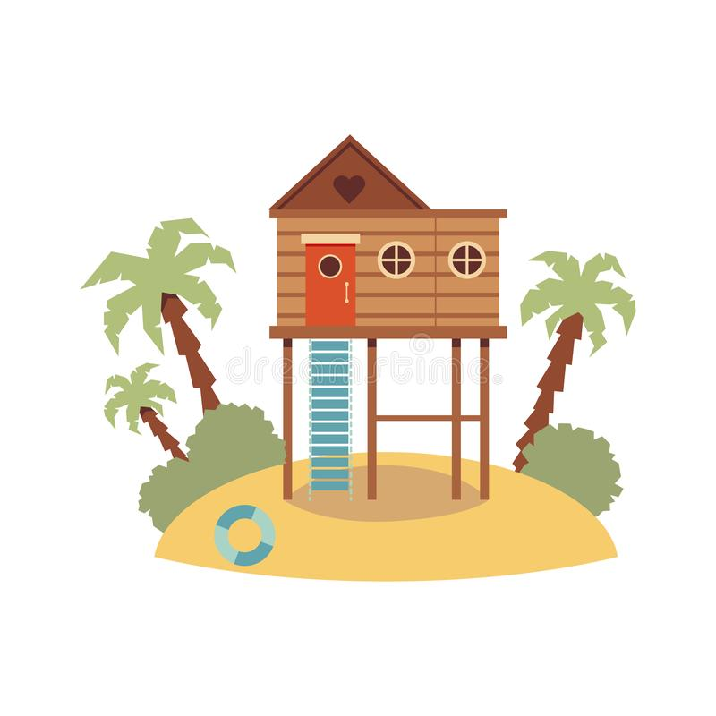 Free Elevated Wooden Beach House On Piling Stilts Standing On Sand Hill Island Royalty Free Stock Photos - 162695928