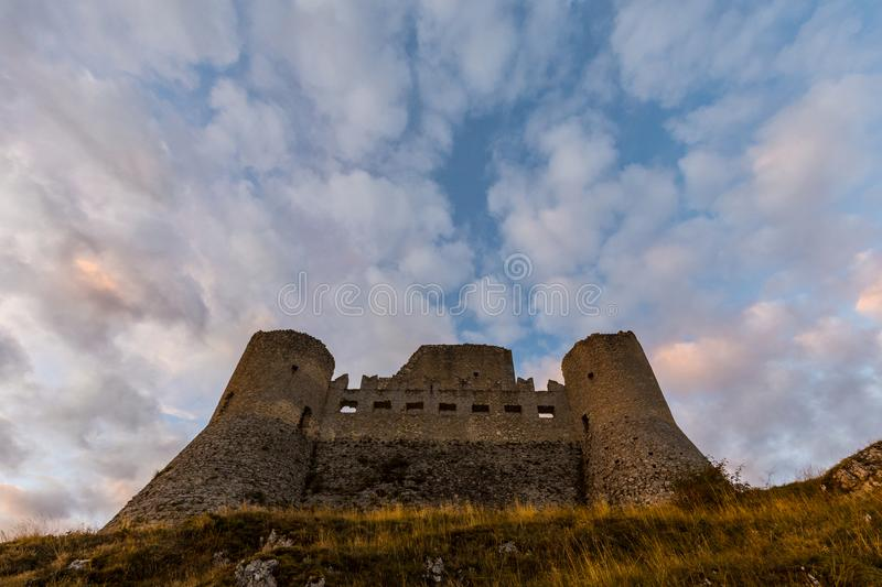 Rocca Calascio is a mountaintop fortress or rocca in the Provinc stock image