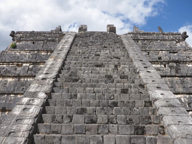 Elevation of tomb of the High Priest pyramid at Chichen Itza mayan town at Mexico royalty free stock photography