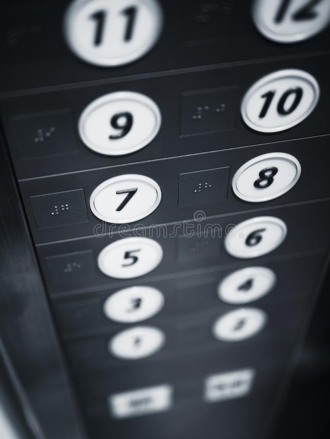 Elevator Button Floor Lift with Braille signage for Disability. People royalty free stock photos