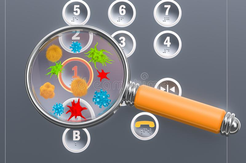 Elevator buttons with germs and bacterias under magnifying glass. 3D rendering. Elevator buttons with germs and bacterias under magnifying glass. 3D vector illustration