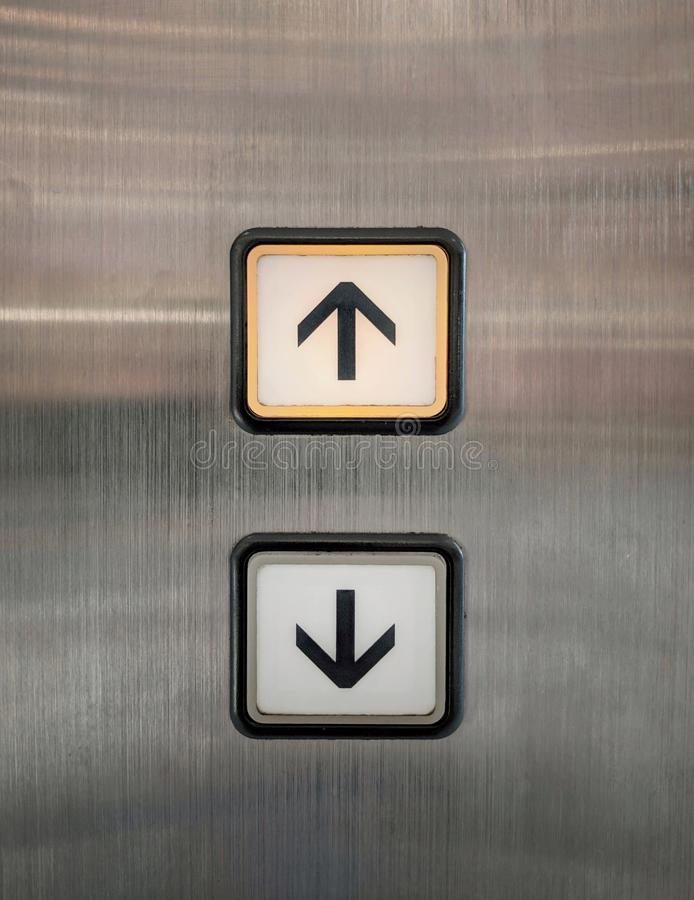 Elevator buttons for up and down with arrows. royalty free stock photography