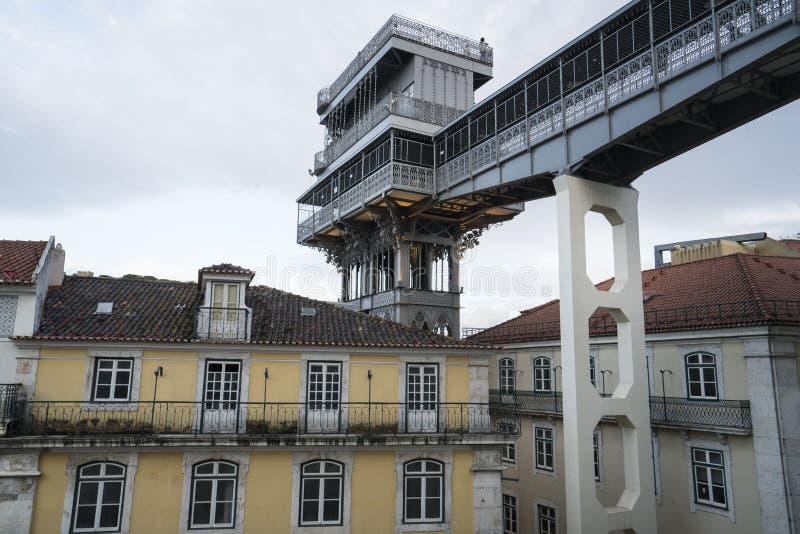 Elevator de圣诞老人Justa在里斯本,葡萄牙 免版税库存图片