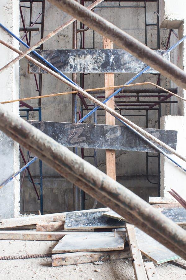 Elevator door, lift inside under construction building site royalty free stock photography