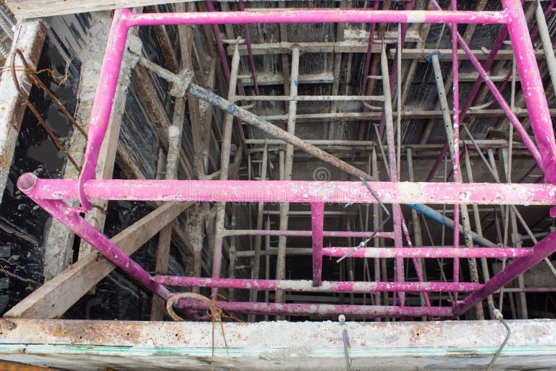 Elevator door, lift inside underconstruction building site, steel for buoyancy of the lift building under construction, Round stee royalty free stock photo