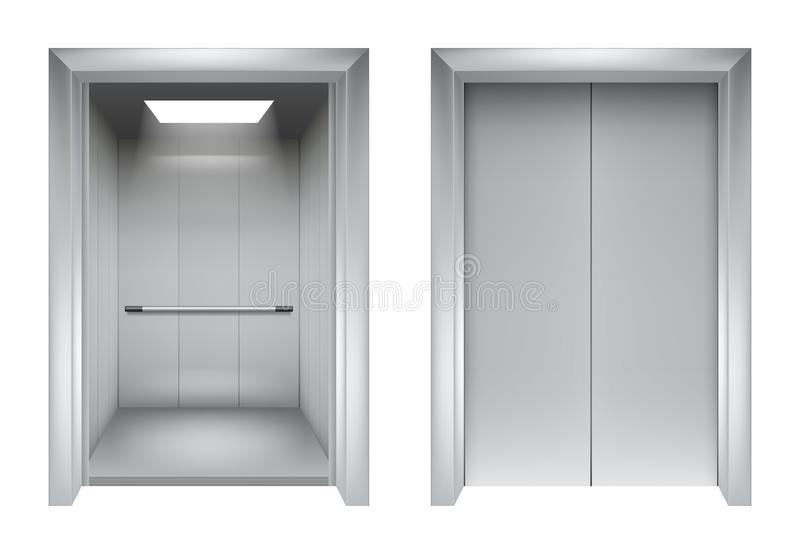 Elevator doors. Closing and opening lift metallic in office building vector realistic 3d pictures vector illustration
