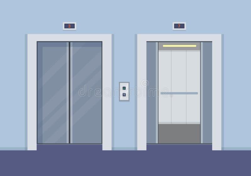 Elevator doors stock illustration