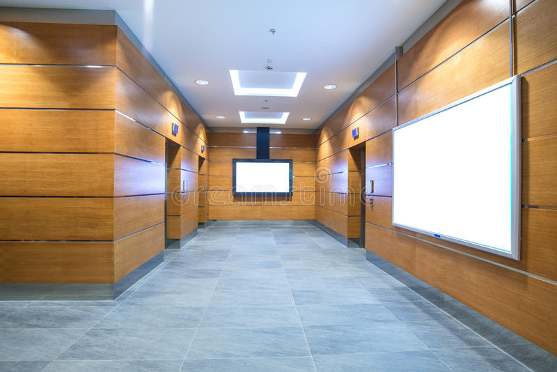 Elevator hall in business center stock photo