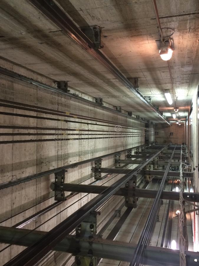 Elevator. Inside elevator shaft with architecture details stock images