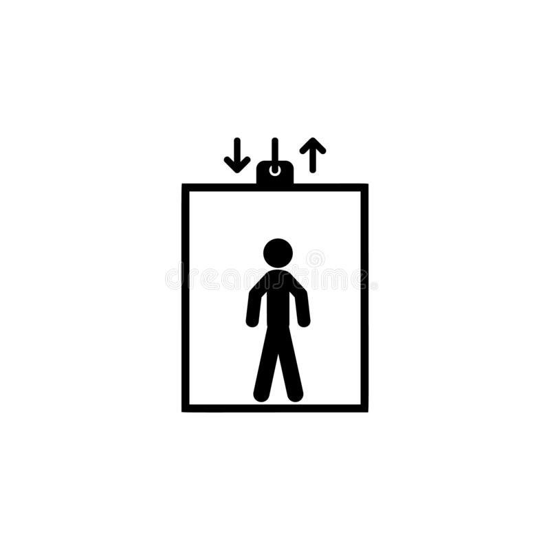 Elevator, man in elevator icon. Simple glyph vector of universal set icons for UI and UX, website or mobile application. On white background vector illustration