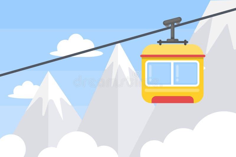 Elevator in mountains. stock illustration