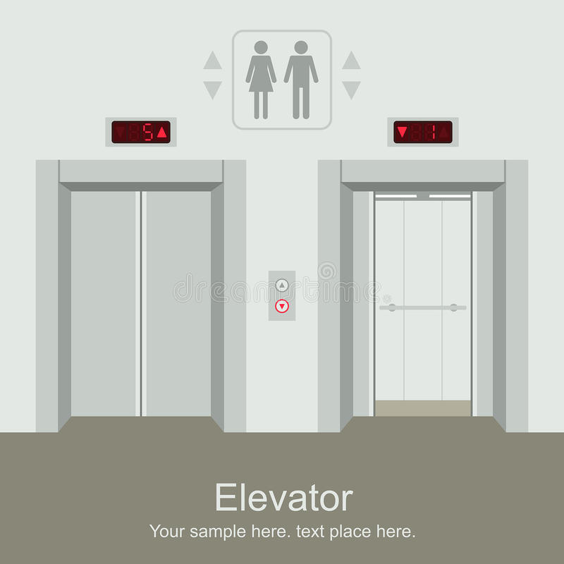 Elevator open and closed doors royalty free illustration