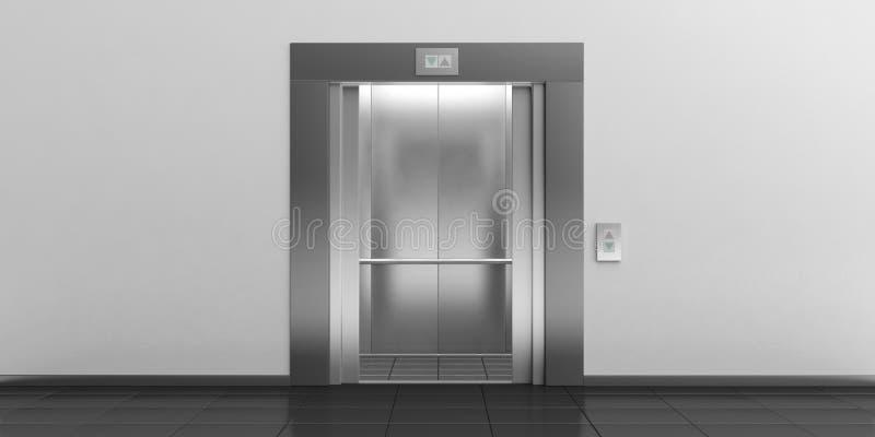 Elevator with open doors. 3d illustration royalty free illustration