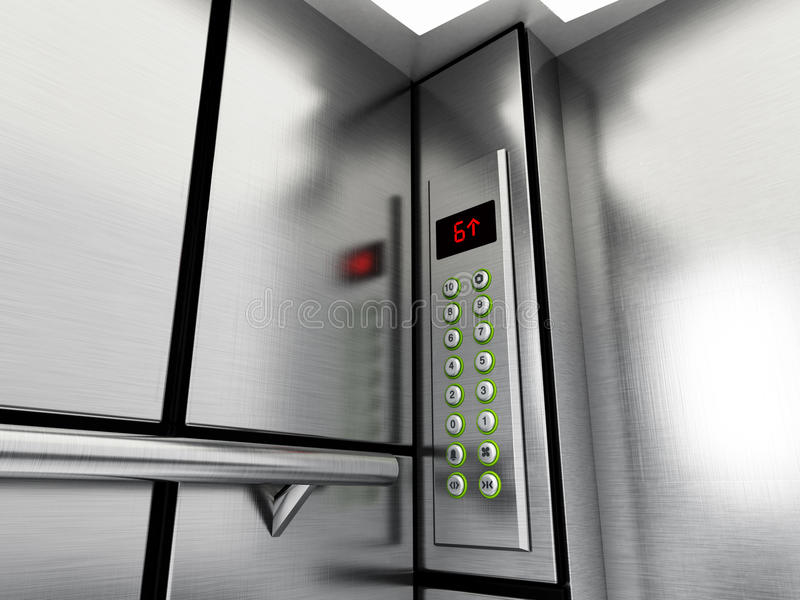 Elevator panel with buttons and LCD display. 3D illustration.  royalty free illustration