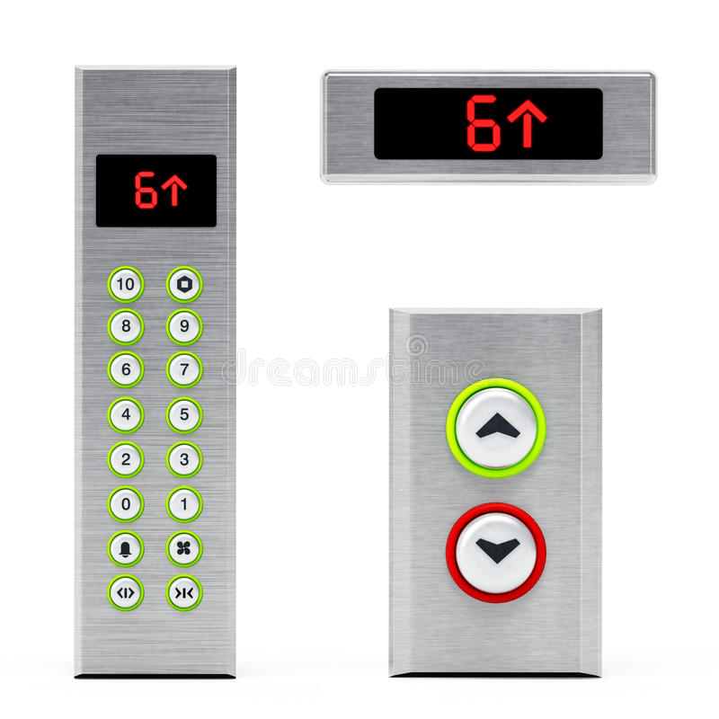 Elevator panels with buttons and LCD display. 3D illustration.  vector illustration