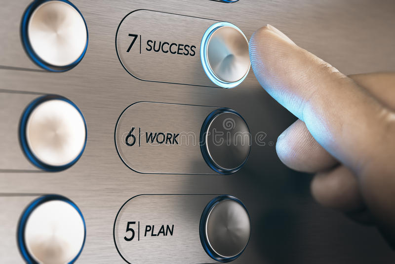Elevator to Success Concept. Man pushing an elevator button where it is written he word success. Successful career evolution concept. Composite image between a vector illustration