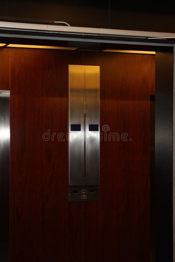 Elevator wall of the berlin television tower stock photography