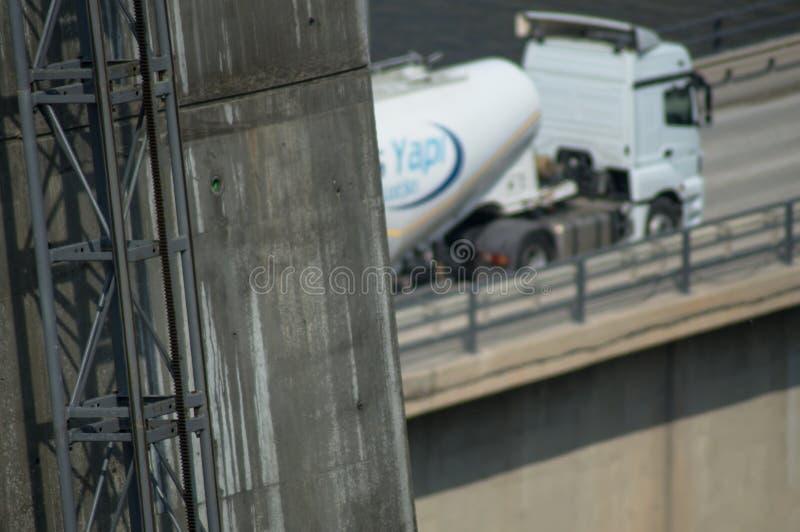 Elevator way bridge foot stock photo