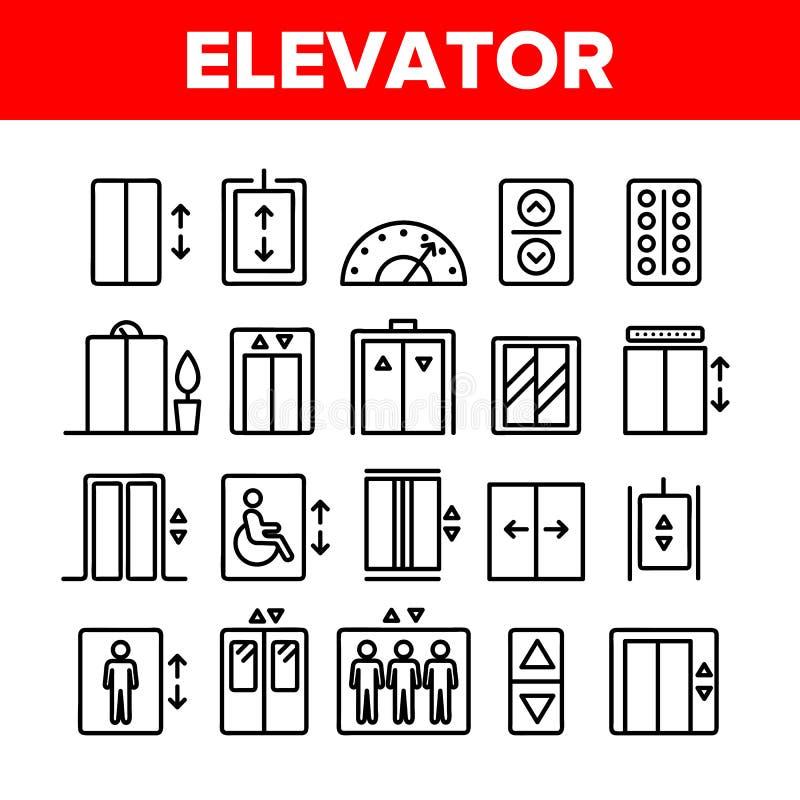 Elevatore del passeggero, insieme lineare delle icone di vettore dell'ascensore illustrazione vettoriale
