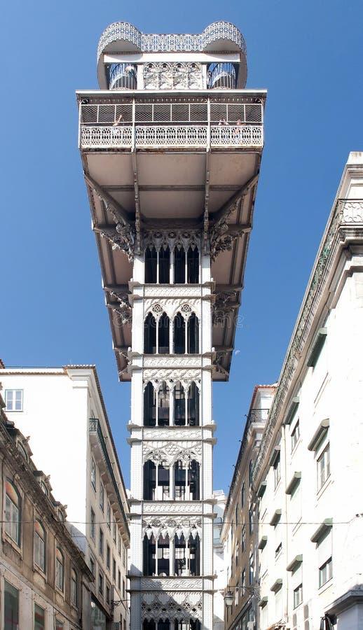 Elevatore della Santa Justa a Lisbona, Portogallo immagine stock libera da diritti
