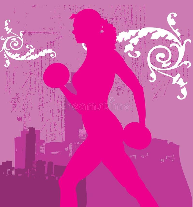 Elevatore di peso della donna nel colore rosa illustrazione di stock