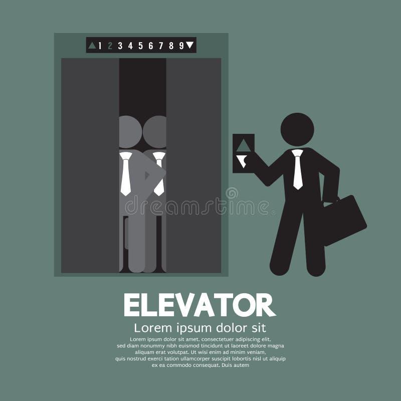 Elevatore di Standing With Crowded dell'uomo d'affari royalty illustrazione gratis