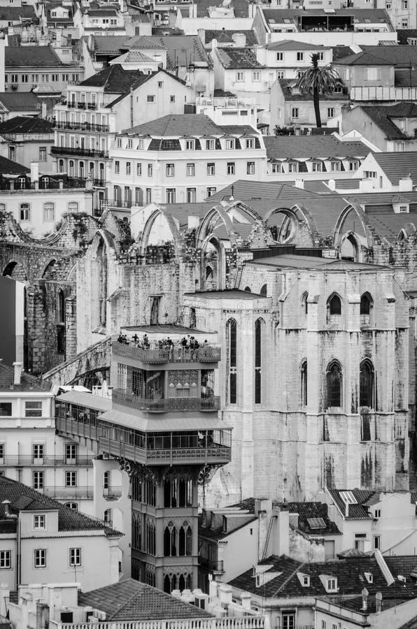 Elevatore a Lisbona in bianco e nero o Elevador de Santa Justa fotografie stock