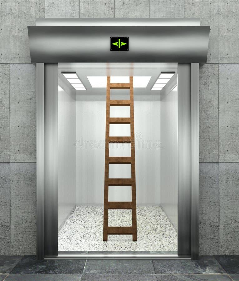 elevatore moderno 3d con la scaletta illustrazione vettoriale
