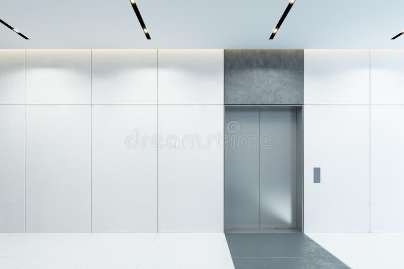 Elevatore moderno con le porte chiuse nell'ingresso dell'ufficio, rappresentazione 3d royalty illustrazione gratis