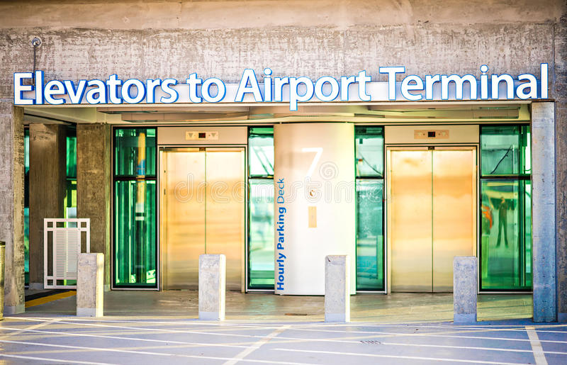 Elevators sign at airport terminal stock photography