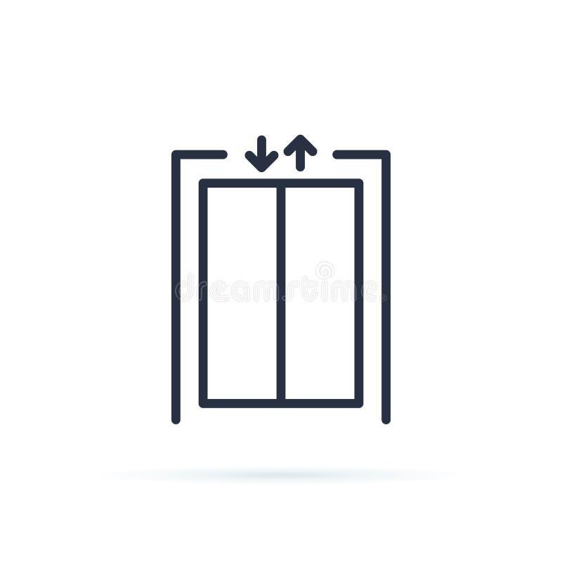 Elevatorvektorsymbol Inre tomt stängt golv för hiss i regeringsställning, främre sikt töm elevatorn Begrepp av affärsmitten vektor illustrationer