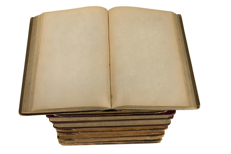 Eleve-se dos livros velhos com as páginas em branco abertas fotografia de stock royalty free