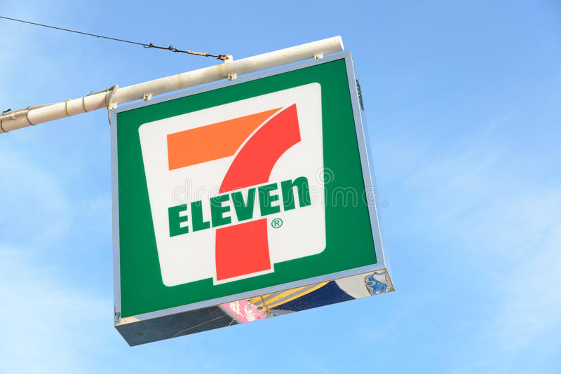 洪7-Eleven商标 库存图片