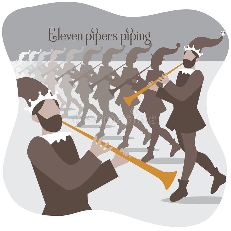 Eleven pipers piping Twelve days of Christmas. EPS 10 vector illustration royalty free illustration