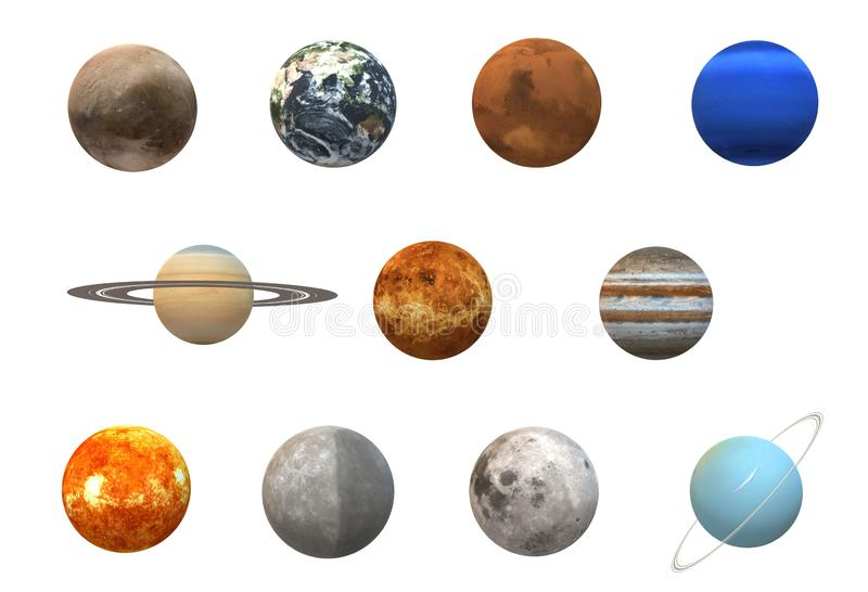 Eleven planets in the solar system aligned on three rows. A computer generated illustration image of eleven planets in the solar system aligned on three rows royalty free illustration