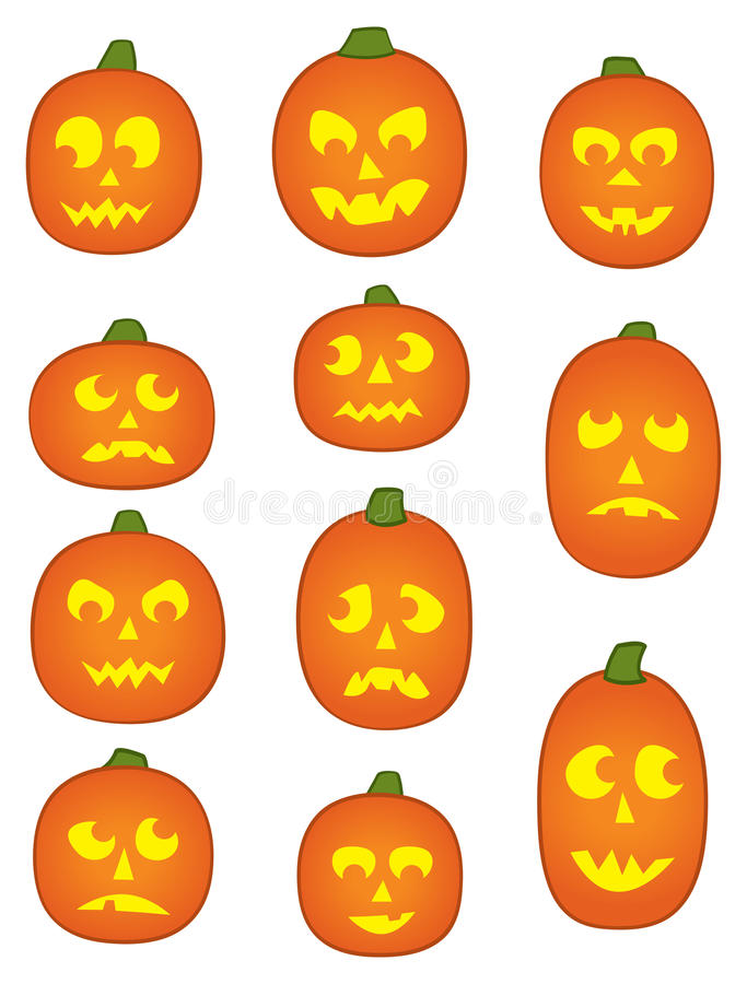 Eleven Pumpkin Faces. Eleven Jack o' Lantern Pumpkins with funny and mean facial expressions stock illustration