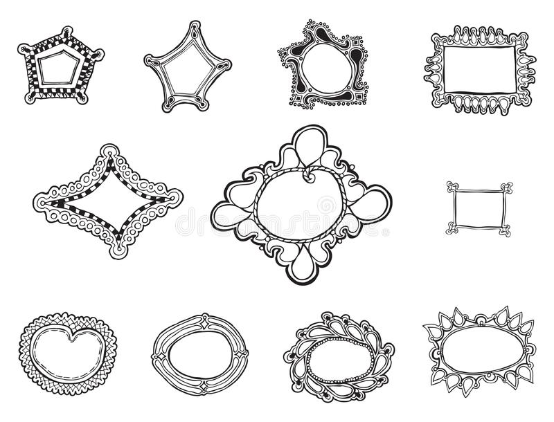 Eleven whimsically organic hand drawn frames vectors. Eleven hand drawn frames, organic and irregular in their free form shapes stock illustration