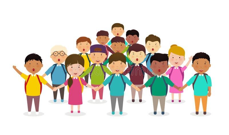 Elever och ungar som rymmer händer Gruppen för barn` s av skolbarn står i rad Lycklig folkmassa av elever på vit bakgrund stock illustrationer