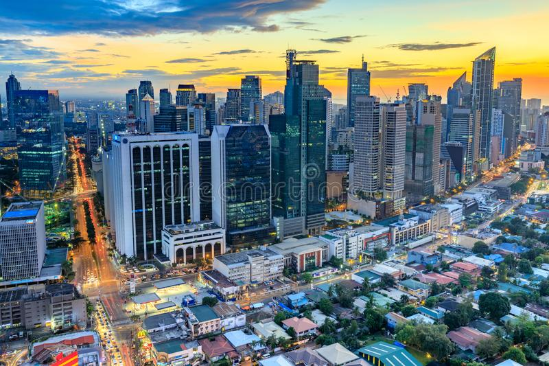 Eleveted, night view of Makati, the business district of Metro Manila, Philippines. Manila, Philippines - Feb 25, 2018 : Eleveted, night view of Makati, the stock photography