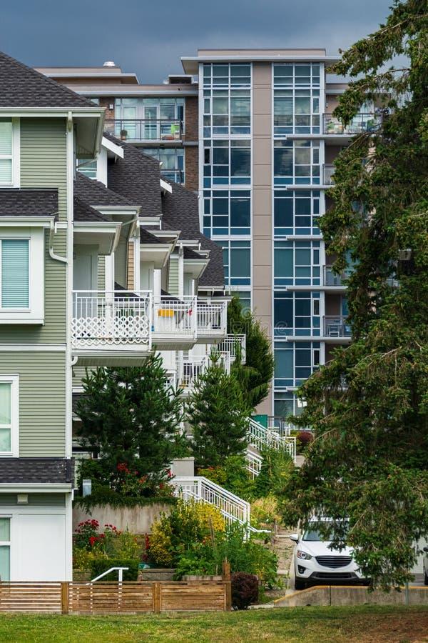 Elewacje budynków mieszkalnych w Vancouver, Kanada obraz stock
