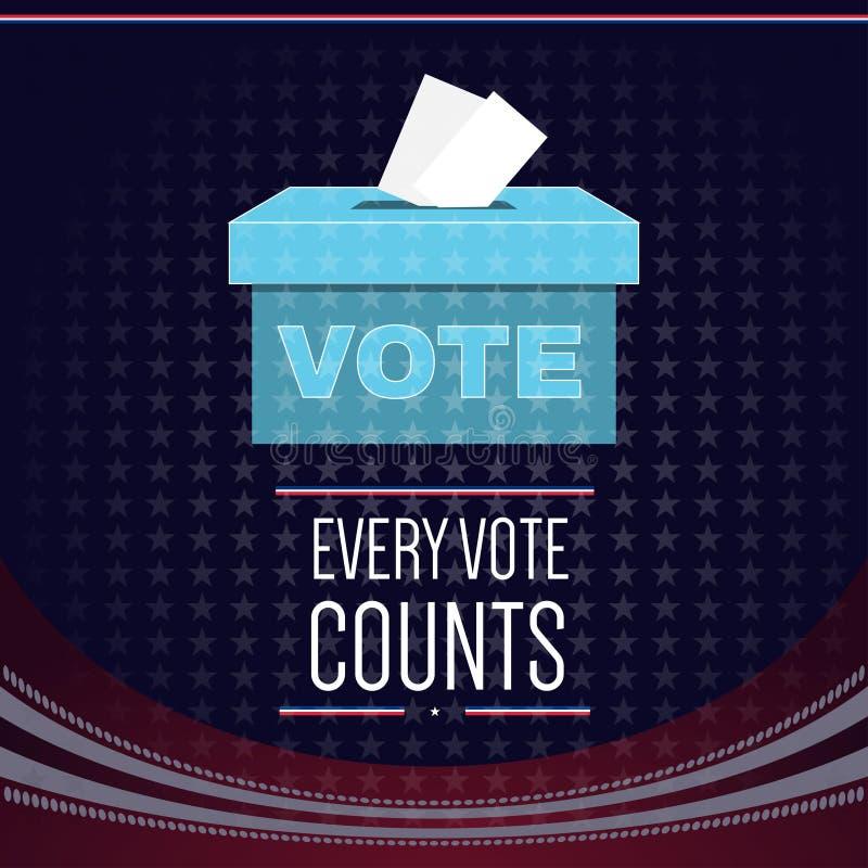 Elezione degli S.U.A. di vettore di Digital con la scatola di voto illustrazione di stock